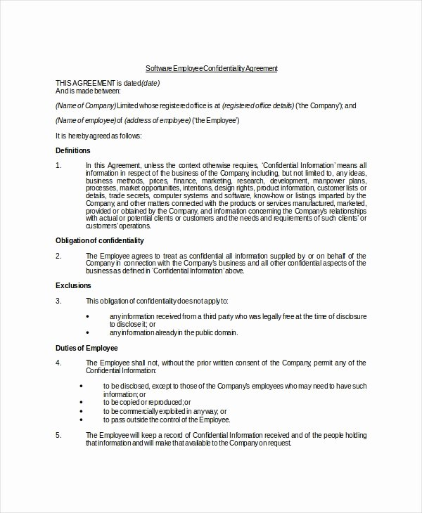Employee Confidentiality Agreement Template Fresh Employee Confidentiality Agreement – 10 Free Word Pdf