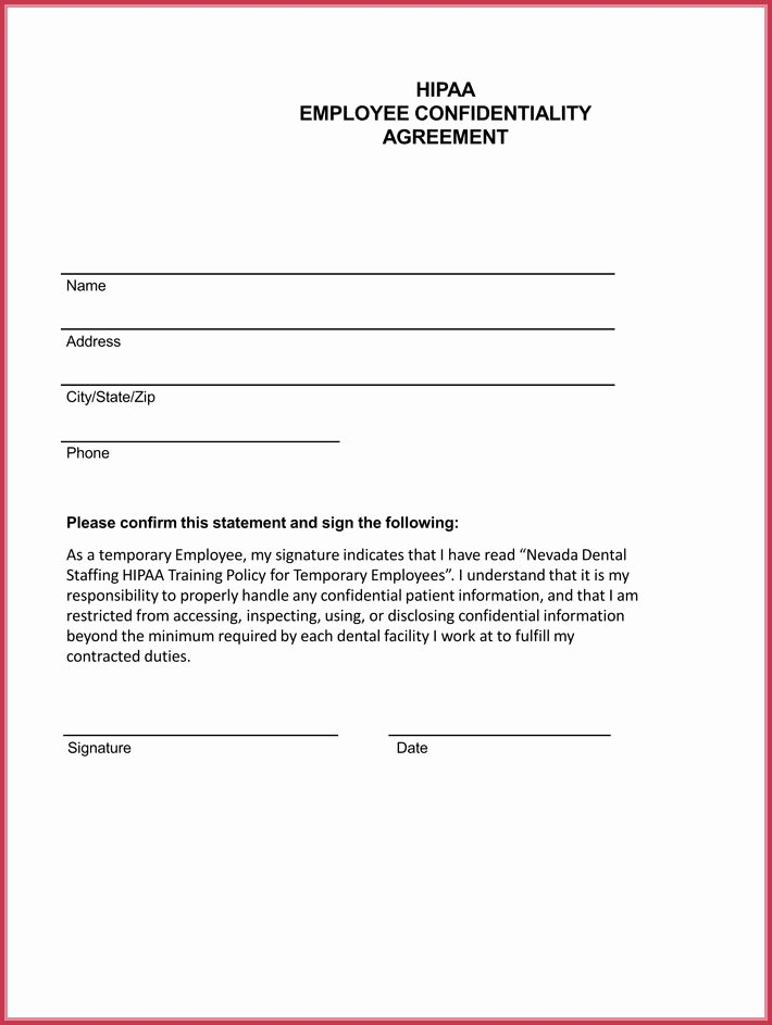 Employee Confidentiality Agreement Template Inspirational Employee Confidentiality Agreement 7 Best Professional