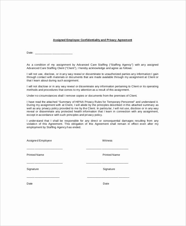 Employee Confidentiality Agreement Template Lovely 16 Employee Confidentiality Agreement Templates Free