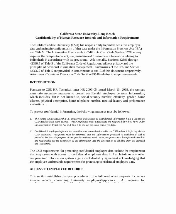Employee Confidentiality Agreement Template Lovely Hr Confidentiality Agreement – Cnbam