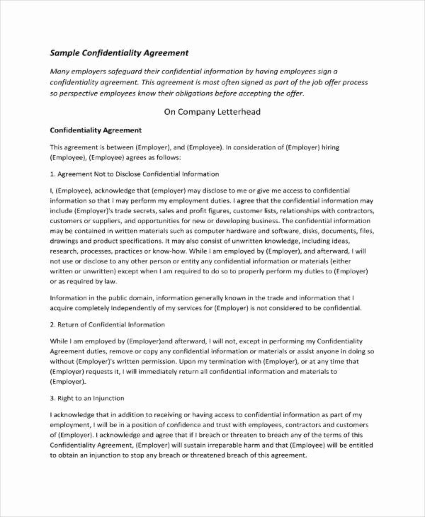 Employee Confidentiality Agreement Template Luxury 11 Employee Confidentiality Agreement Templates Pdf