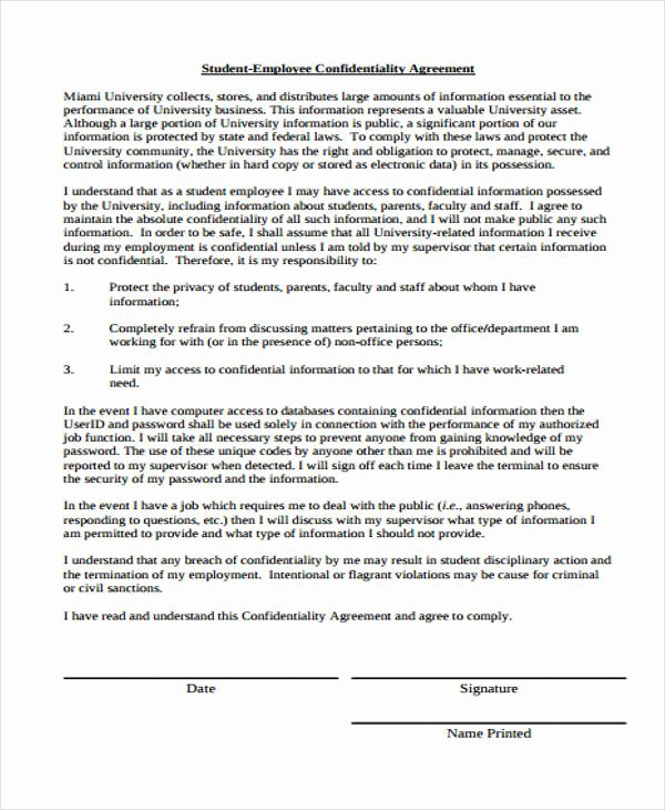 Employee Confidentiality Agreement Template New 19 Confidentiality Agreement forms In Pdf Free