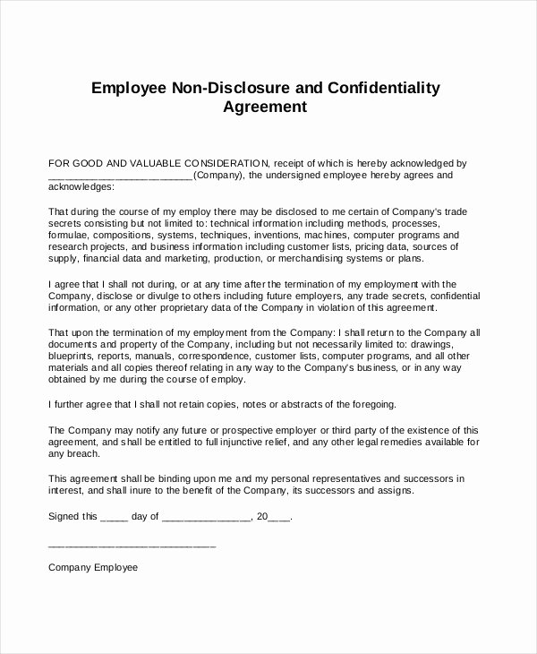 Employee Confidentiality Agreement Template New Standard Non Disclosure Agreement form 22 Free Word