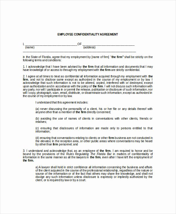 Employee Confidentiality Agreement Template Unique 10 Employee Confidentiality Agreement Free Download