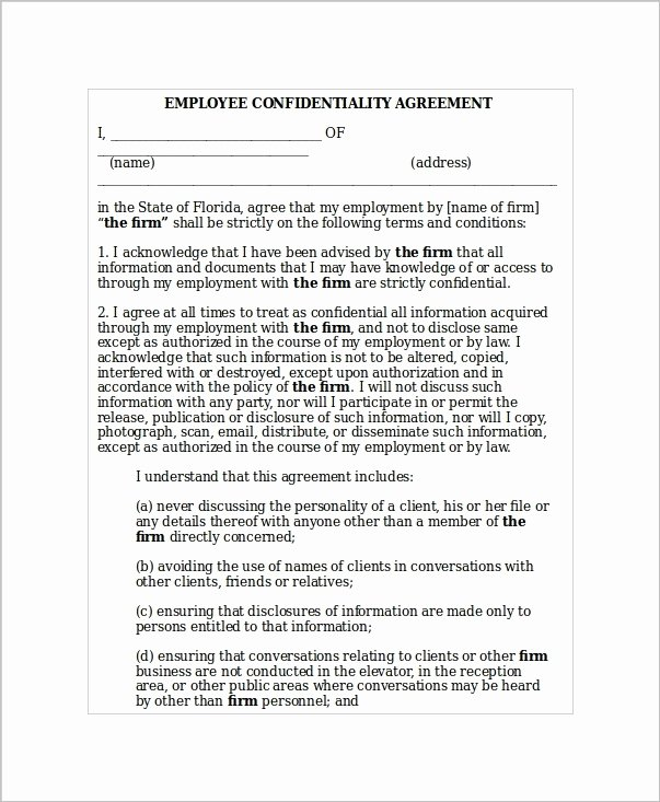 Employee Confidentiality Agreement Template Unique 5 Employee Confidentiality Agreement Templates Word