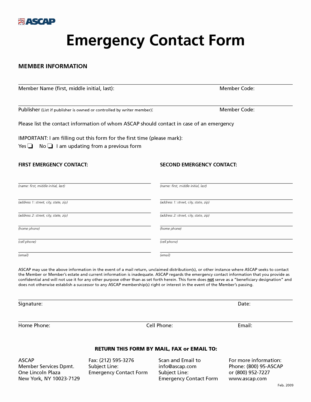Employee Emergency Contact form Template Awesome 8 Best Of Printable Employee Information form New