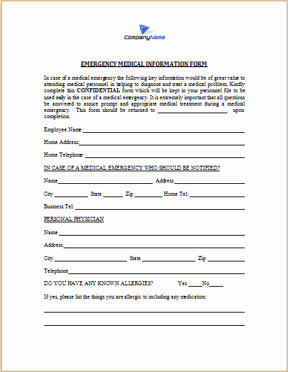 Employee Emergency Contact form Template Awesome Medical Information form – Medical form Templates