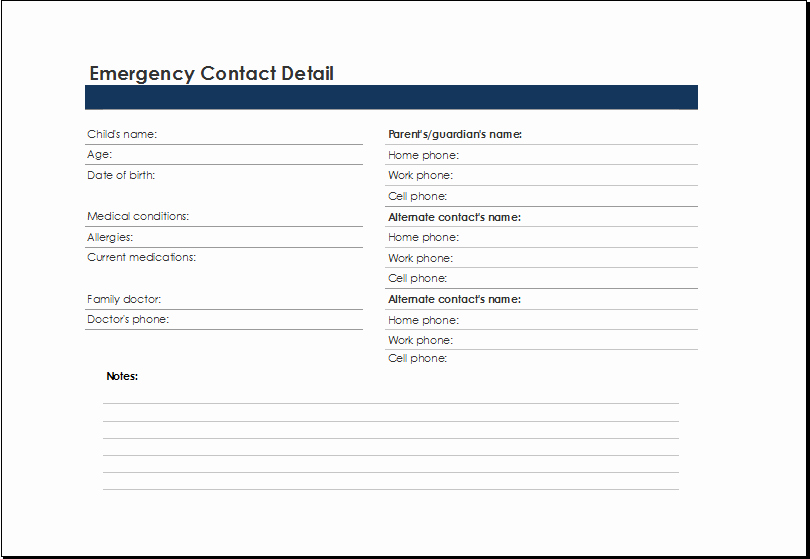 Employee Emergency Contact form Template Awesome Printable Excel Emergency Contact List Template