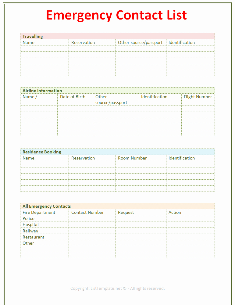Employee Emergency Contact form Template Beautiful Emergency Contact List Template Light Design