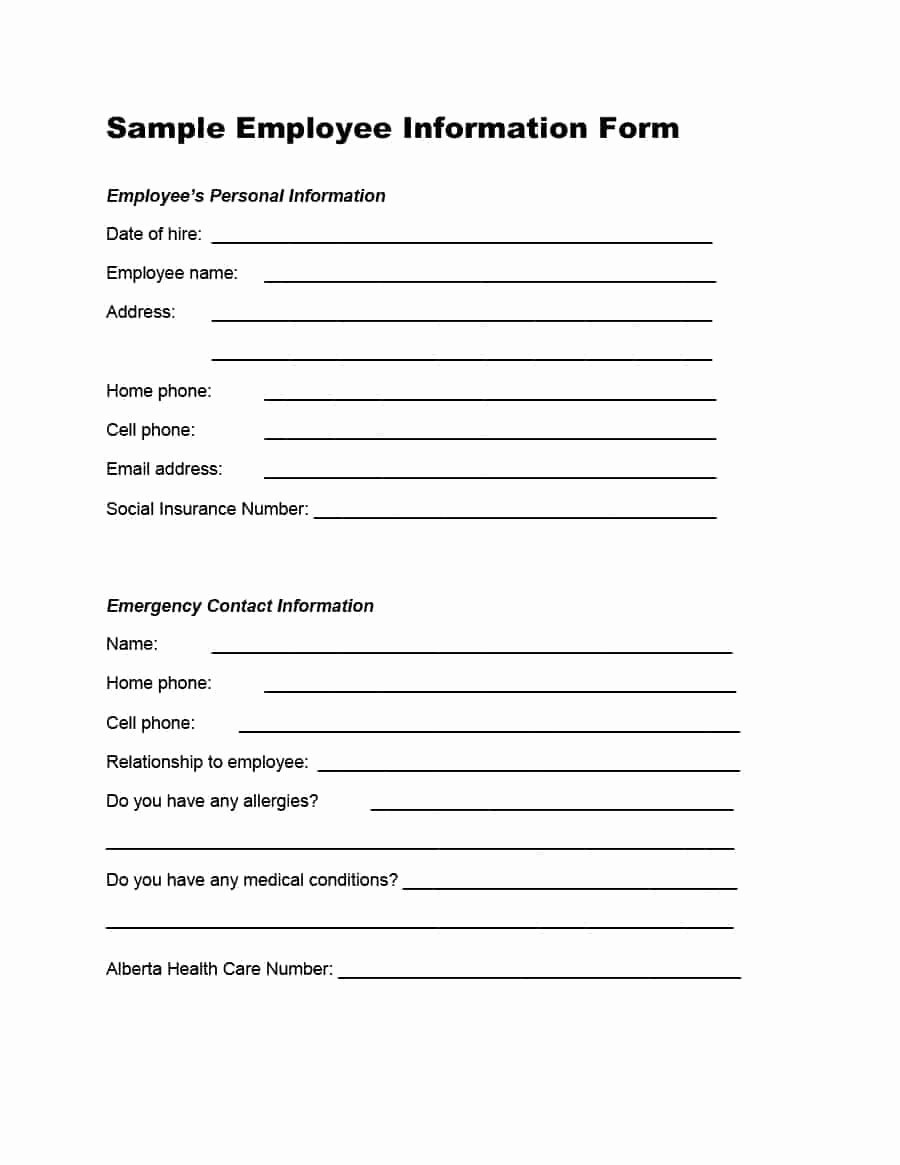 Employee Emergency Contact form Template Best Of 47 Printable Employee Information forms Personnel