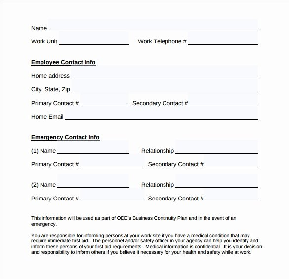 Employee Emergency Contact form Template Elegant Emergency Contact forms 11 Download Free Documents In