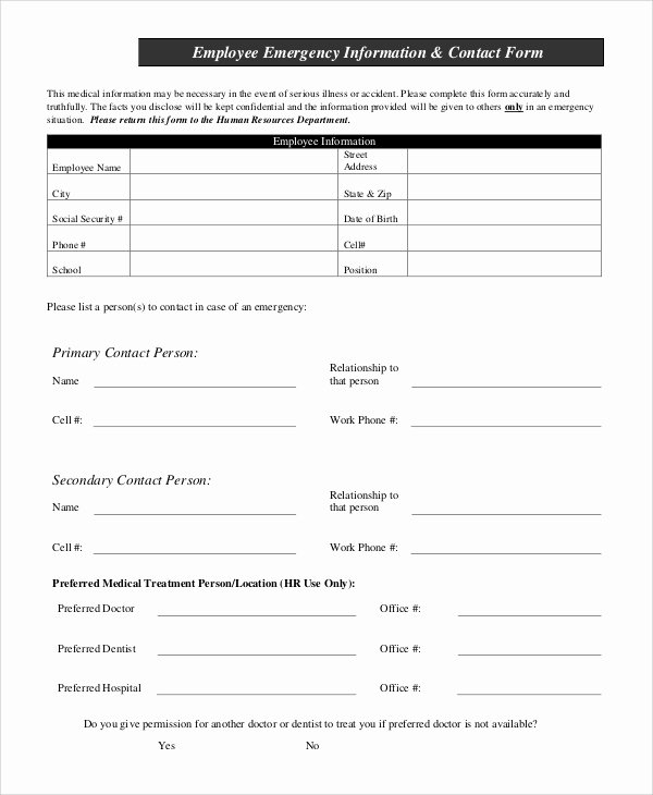 Employee Emergency Contact form Template Elegant Sample Employee Information form 10 Examples In Pdf Word