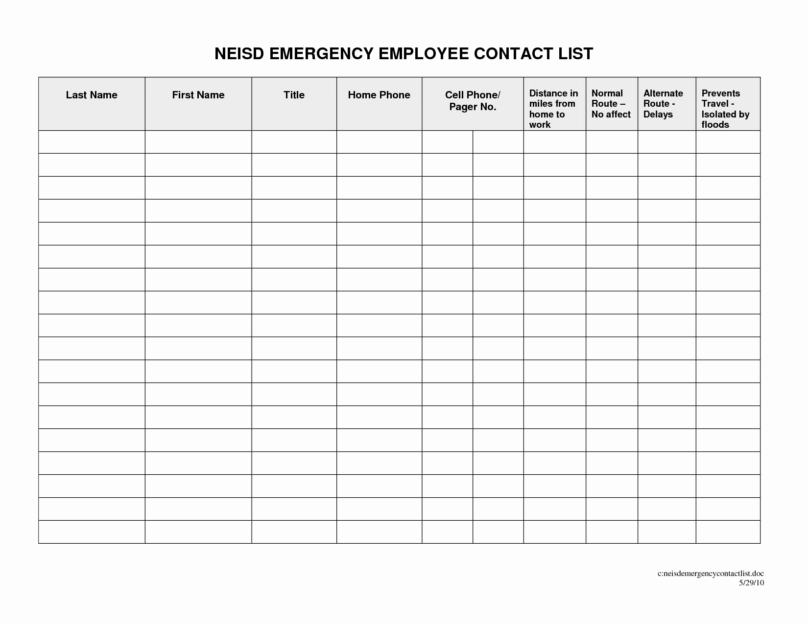Employee Emergency Contact form Template Inspirational 29 Of Emergency Contact List Template for Employees