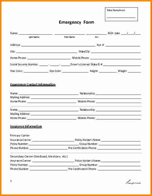 Employee Emergency Contact form Template Luxury 29 Of Emergency Contact List Template for Employees