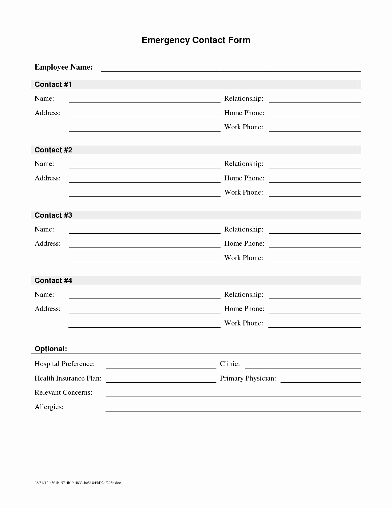 Employee Emergency Contact form Template Luxury Employee Emergency Contact Printable form to Pin