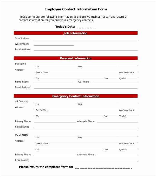 Employee Emergency Contact form Template Luxury Free 11 Sample Employee Information forms
