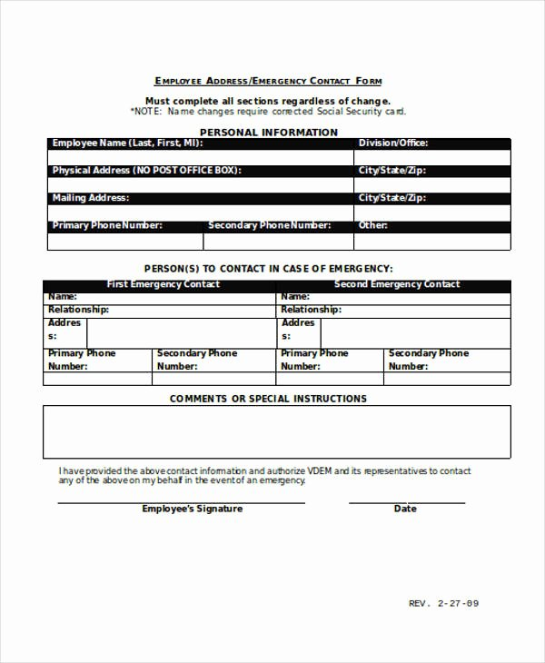 Employee Emergency Contact form Template Luxury Free 33 Emergency Contact form Templates In Pdf