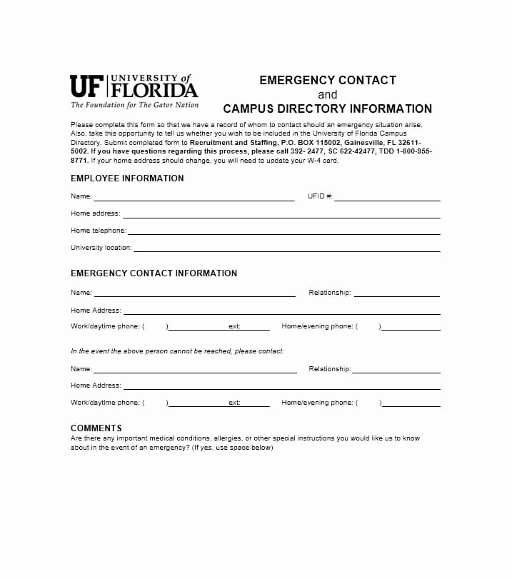 Employee Emergency Contact form Template New 54 Free Emergency Contact forms [employee Student]