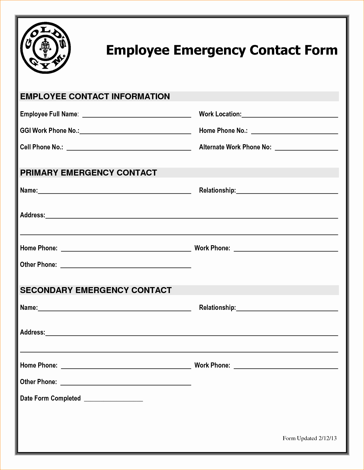 Employee Emergency Contact form Template Unique 5 Emergency Contact form Template