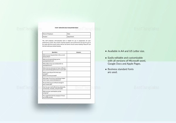 Employee Evaluation Template Word Best Of Employee Evaluation form Example 13 Free Word Pdf