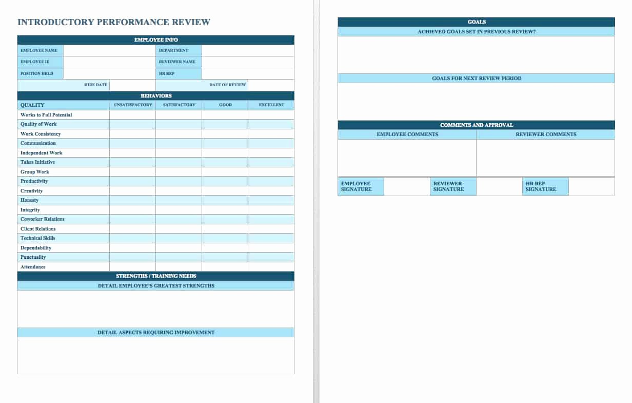 Employee Evaluation Template Word Inspirational Free Employee Performance Review Templates Smartsheet