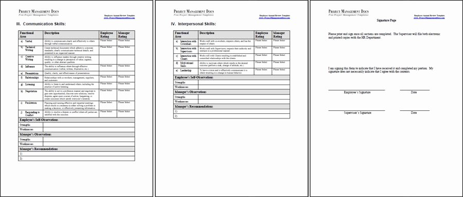 Employee Evaluation Template Word Lovely Employee Annual Review Template Project Management Docs