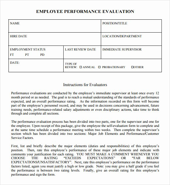 Employee Evaluation Template Word Lovely Free 7 Performance Evaluation In Samples Templates Examples