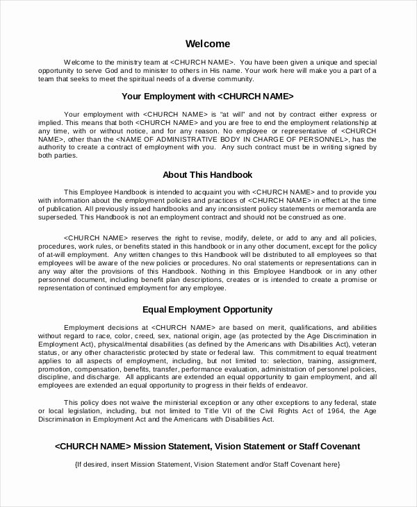 Employee Handbook Template Word Free Awesome Book Templates