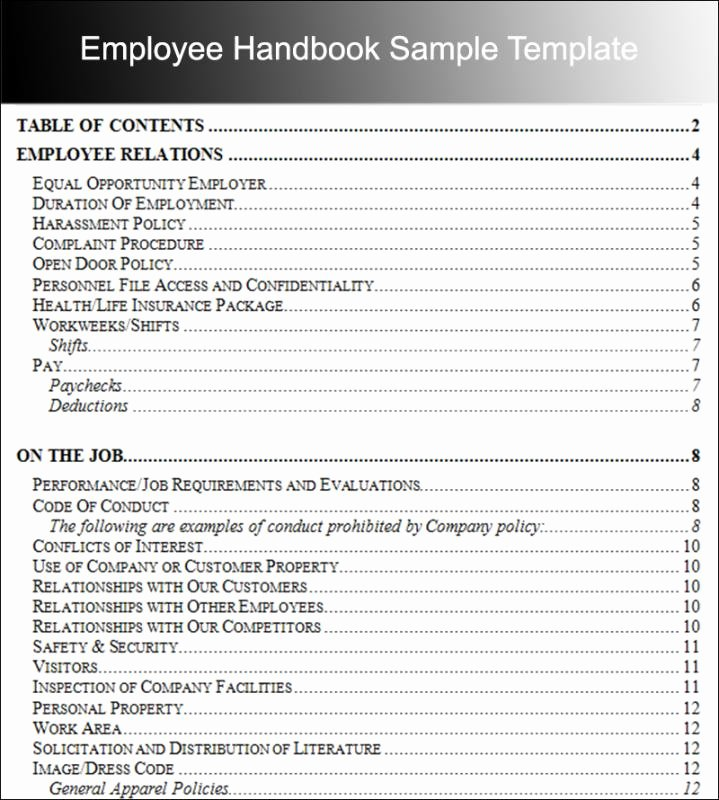 Employee Handbook Template Word Free Beautiful Employee Handbook Examples