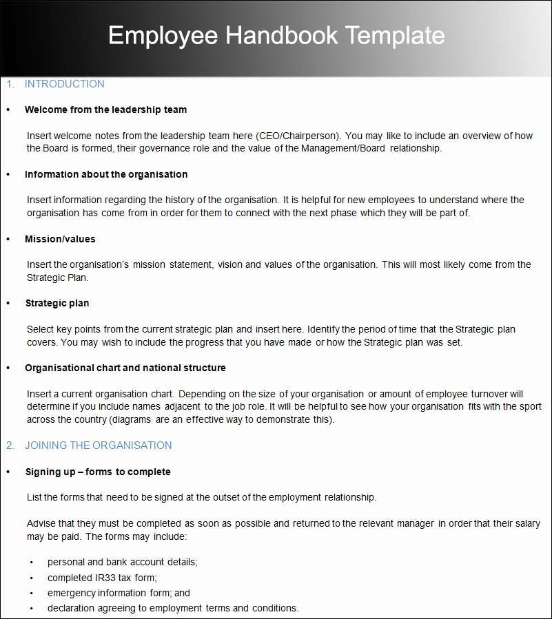 Employee Handbook Template Word Free Best Of Employee Handbook Template