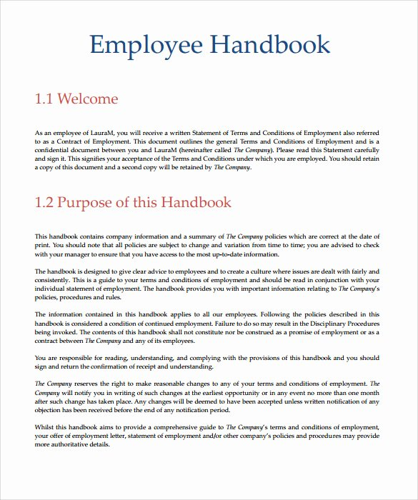 Employee Handbook Template Word Free New Employee Handbook Template