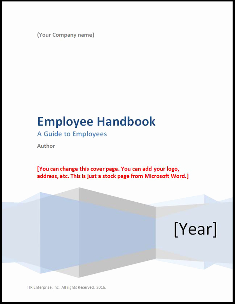 Employee Handbook Template Word Free Unique Employee Handbook Template 2017 – Hr Enterprise