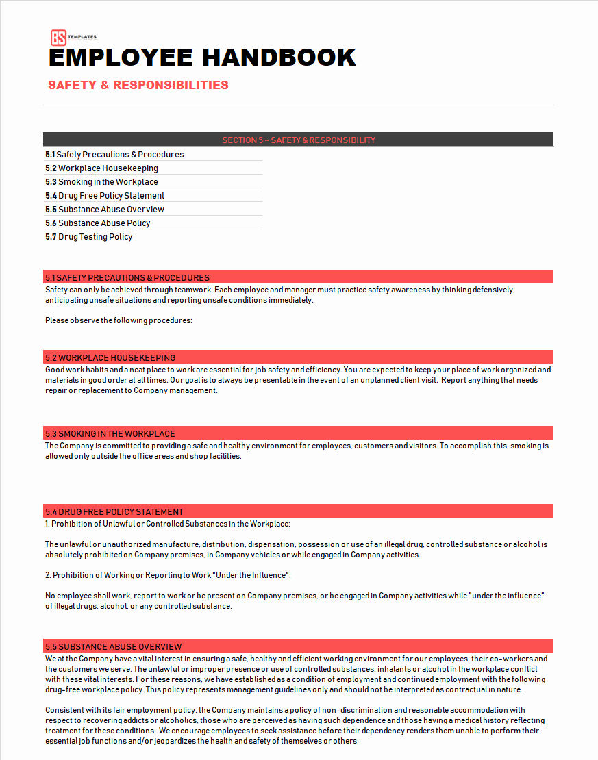 Employee Handbook Template Word Free Unique Employee Handbook Template & Sample Word