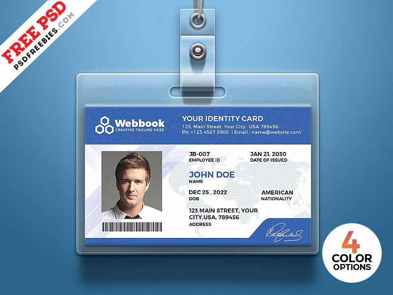 Employee Id Card Templates Awesome Free Id Card Template Psd Set