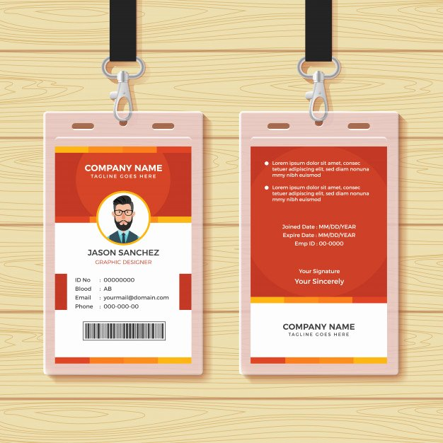 Employee Id Card Templates Awesome Red Employee Id Card Design Template Vector