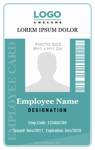 Employee Id Card Templates Beautiful 10 Amazing Employee Vertical Size Id Cards for Free