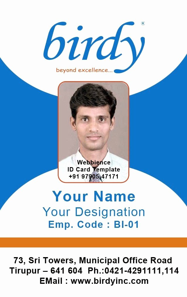Employee Id Card Templates Fresh Id Card Coimbatore Ph Vertical Employee
