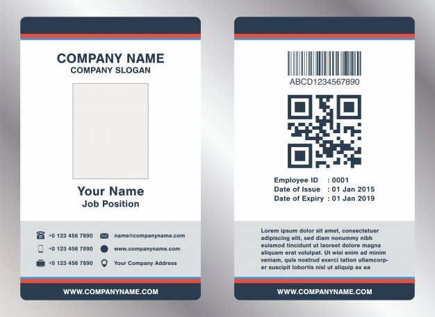Employee Id Card Templates New Simple Landscape Employee Id Card Template Vector Vector