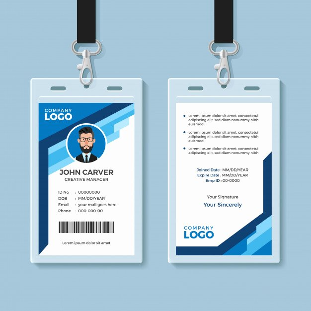 Employee Identification Card Template Awesome Blue Graphic Employee Id Card Template Vector