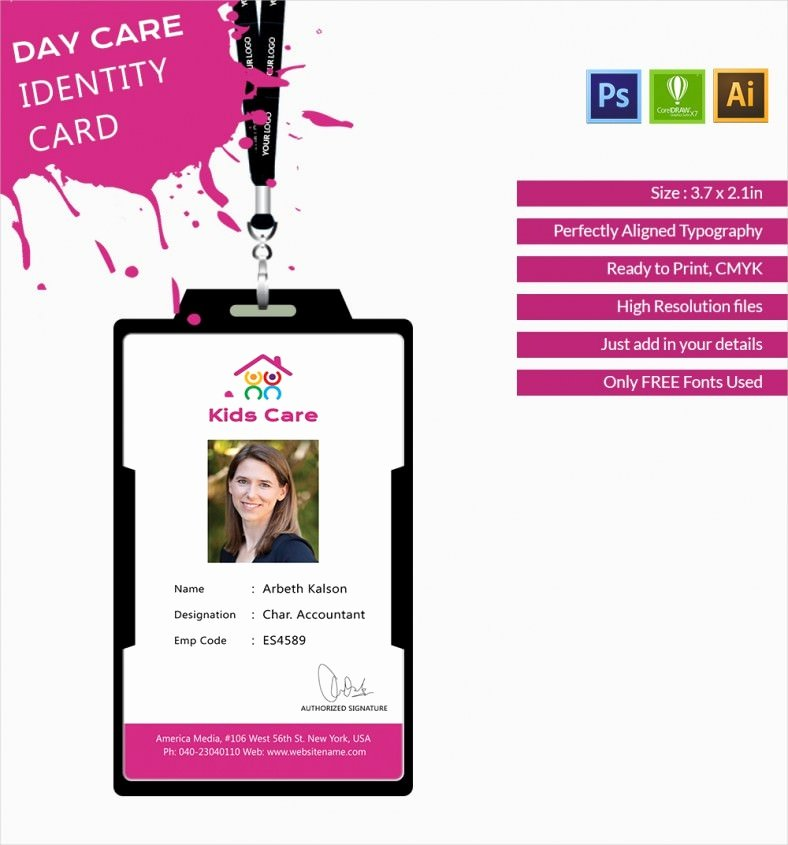 Employee Identification Card Template Awesome Fabulous Day Care Identity Card Template