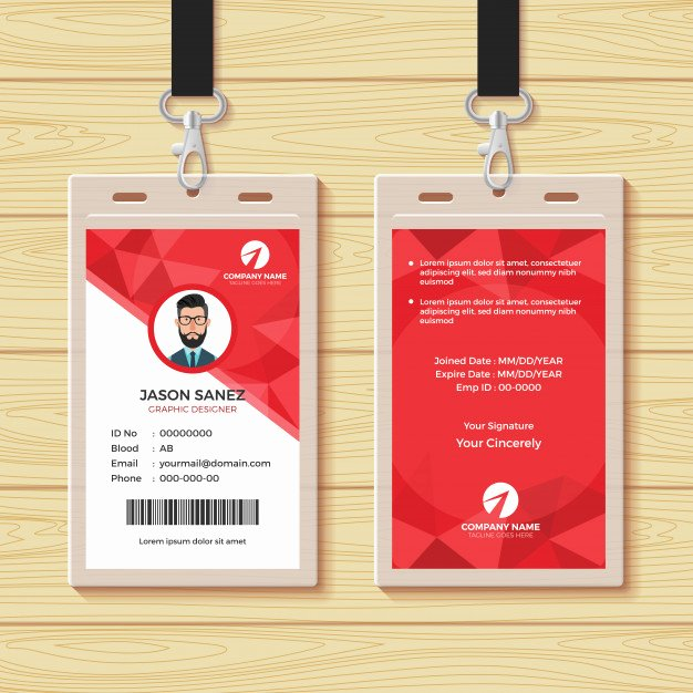 Employee Identification Card Template Beautiful Red Geometric Employee Id Card Design Template Vector