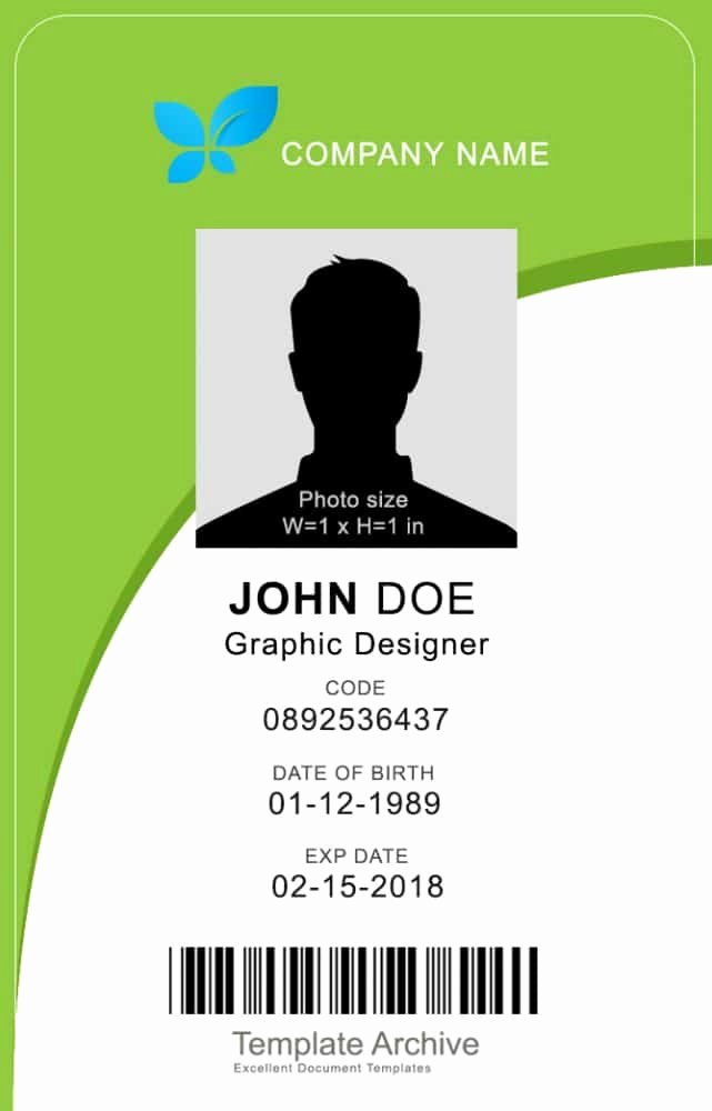 Employee Identification Card Template Inspirational 16 Id Badge & Id Card Templates Free Template Archive