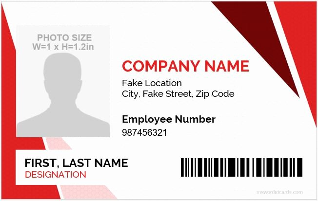 Employee Identification Card Template Lovely Id Badge Templates for 2019 20