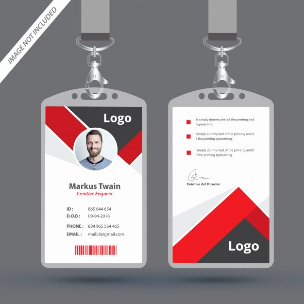 Employee Identification Card Template Luxury Red Employee Id Card Design Template Vector