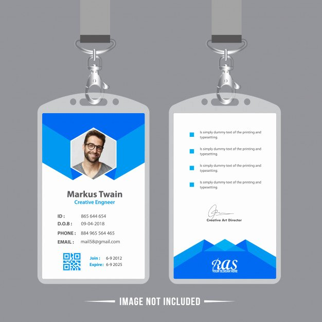 Employee Identification Card Template Unique Blue Employee Id Card Design Template Vector