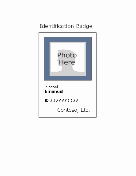 Employee Identification Card Template Unique Employee Photo Id Badge Portrait