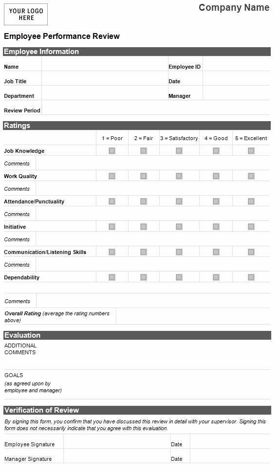 Employee Performance Review Template Excel Awesome Employee Evaluation Template