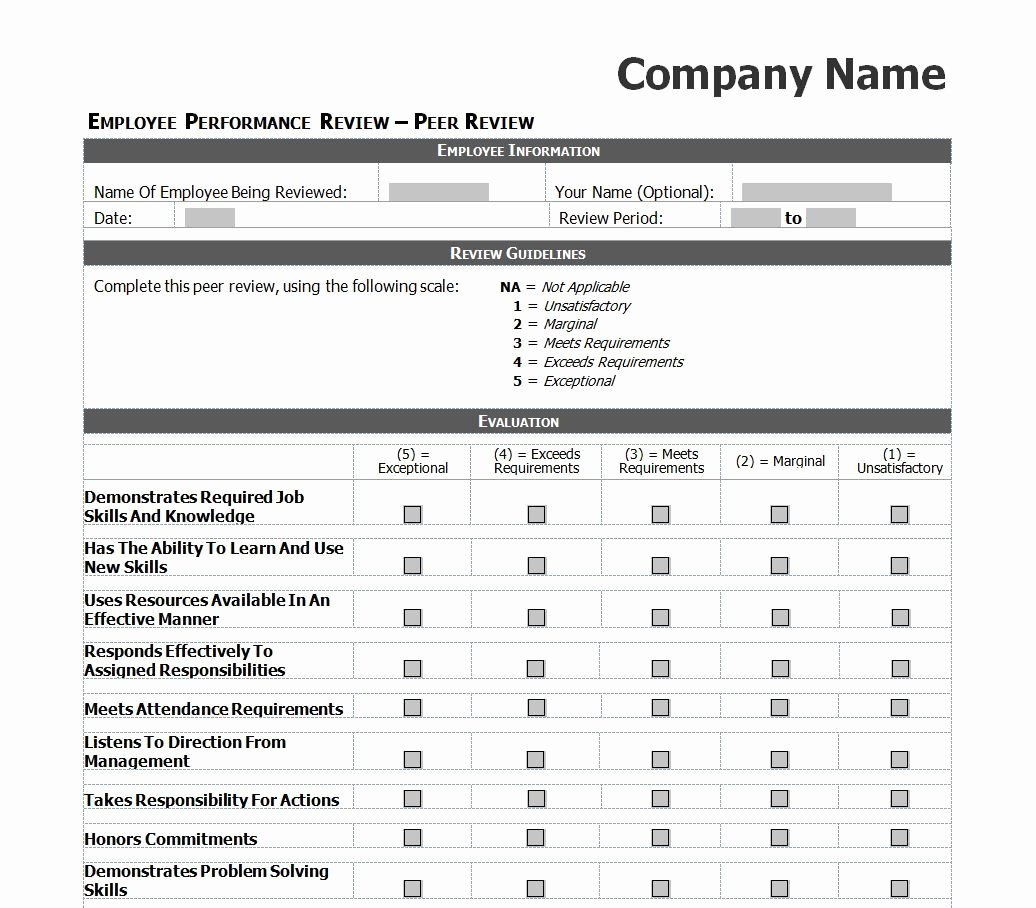 Employee Performance Review Template Excel Beautiful Employee Evaluation Template Excel Images