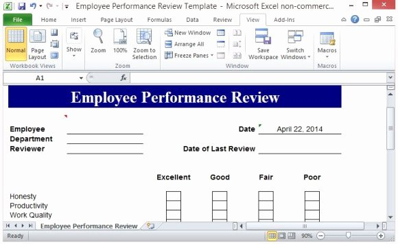 Employee Performance Review Template Excel Elegant Free Performance Review Template form for Word 2007