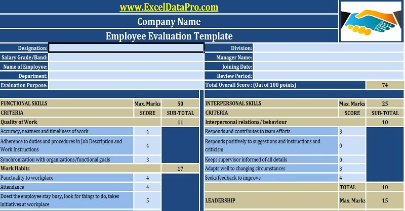 Employee Performance Review Template Excel Fresh Download Employee Performance Evaluation Excel Template